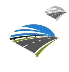 Icon of freeway road under blue sky vector image
