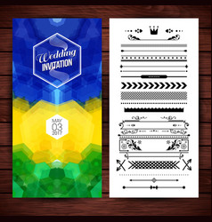 Image of blue yellow and green wedding invitation vector