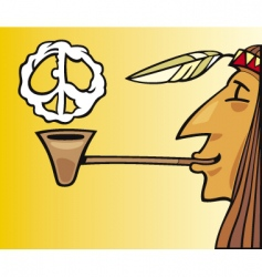indian smoking pipe of peace vector image