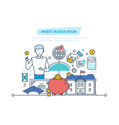 Invest in education financial investments in vector