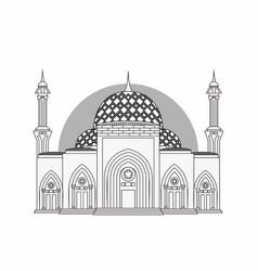 Kepulauan riau capital mosque grayscale vector