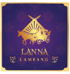 lanna lampang carriage purple background im vector image