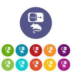 Mousetrap icons set color vector