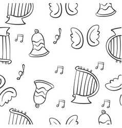 music theme doodles vector image vector image