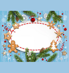 new blue christmas frame vector image