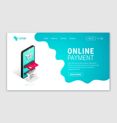 Online payment landing page concept vector