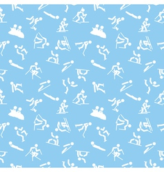 Pattern with winter sports icons vector