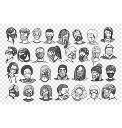 People with masks hand drawn doodle set vector