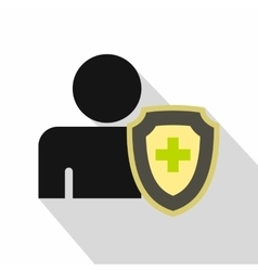 Person and medical cross protection shield icon vector image