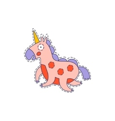 Pink Unicorn Bright Hipster Sticker vector image