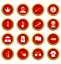 Rastafarian icon red circle set vector