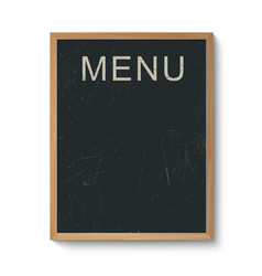 Restaurant menu board in a wooden frame vector