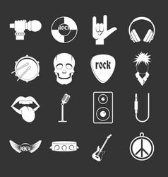 rock music icons set grey vector image