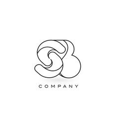 Sb monogram letter logo with thin black monogram vector