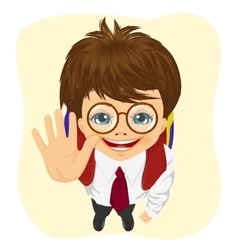 Schoolboy with glasses showing five fingers vector