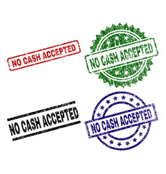 Scratched textured no cash accepted stamp seals vector