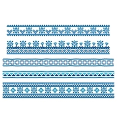 Set of embroidering pattern lines vector