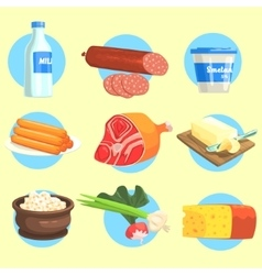Set Of Farm Product Colorful Stickers vector image