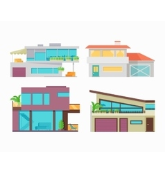Set of houses buildings and architectures vector