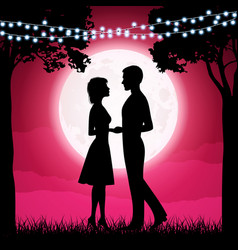 Silhouettes of young woman and man on the moon vector