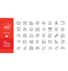 simple travel icons set vector image