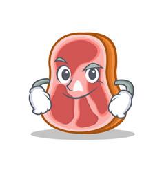 Smirking meat character cartoon food vector