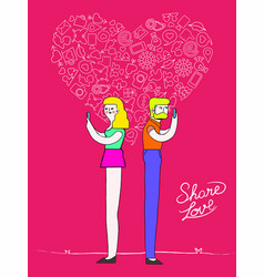 Social media love couple with internet icons vector