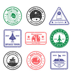 Space tour stamps set vector