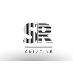 Sr s r black and white lines letter logo design vector