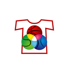 t-shirt sport ball vector image