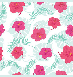 tropical hibiscus flowers seamless repeat pattern vector image