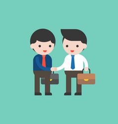 two business man shake hand flat design business vector image