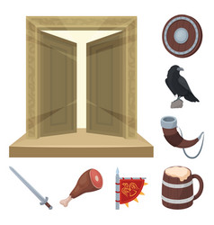 Vikings and attributes cartoon icons in set vector