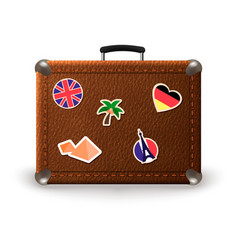 Vintage retro suitcase with travel stickers vector