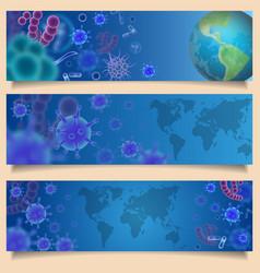 Virus attack banner web template set vector