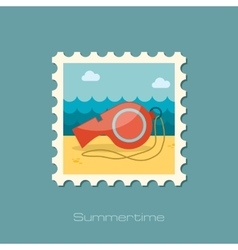 Whistle flat stamp vector image