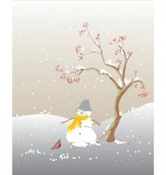 winter snowman vector image