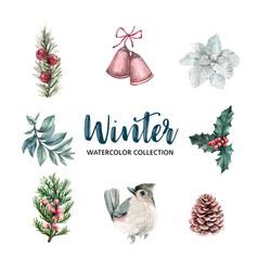 Winter-theme watercolor design element on white vector
