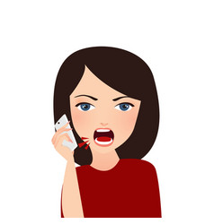 Woman complain on phone angry complain upset vector