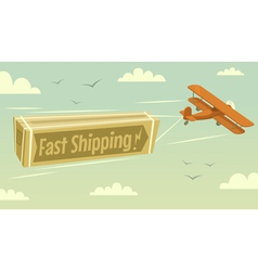 Biplane and fast shipping vector image vector image