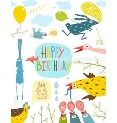 Brightly Colored Fun Cartoon Animals Happy vector image vector image
