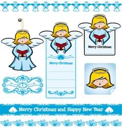christmas angel set vector image