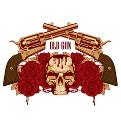 Emblem with human skull red roses and pistols vector