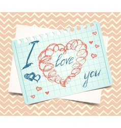 love you words and heart symbol painted with red vector image