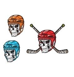 Skull with ice hockey amunition vector