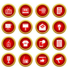 Advertisement icon red circle set vector
