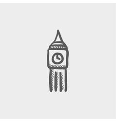 Big ben clock sketch icon vector image