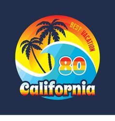California 80 - surfing and vacation - badge vector image