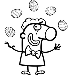 cartoon clown juggling easter eggs for coloring vector image vector image