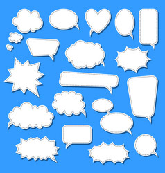 set of cartoon doodle speech bubbles template for vector image
